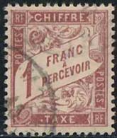 France 1893 Taxe Yv. N°40 - 1F Lilas-brun S. Paille - Oblitéré - Taxes