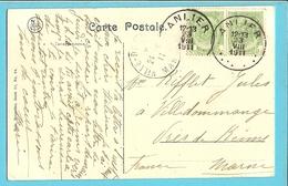 83 Op Kaart (HABAY LA NEUVE) Met Stempel ANLIER (28mm) - 1893-1907 Coat Of Arms