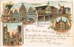 Litho Gruß Aus Lüneburg, Am Sande, Stintmarkt U.a. 1903 - Lüneburg