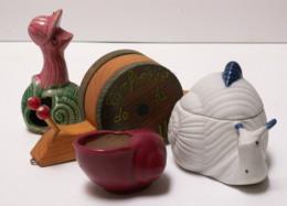 Lot De 4 Escargots - Boite En Biscuit - Pot Terre - Jouet à Rouler - Escargot à Casquette - Figurines