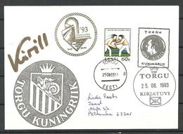 ESTLAND Estonia Kongdom Of Torgu 1993 Cover With Autograph Of The King Kirill I Königreich Torgu König Kirill I - Estonie