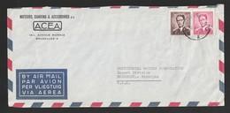 OCB 1070 + 1069 -  7,50 + 6 Fr. Boudewijn Op Luchtpostbrief Van Brussel Naar USA - 1953-1972 Lunettes