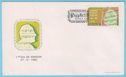 J.M.20 - Chili- F.D.C..- N° 90 - Compositeur - O. Perez Freire - Notation - Musique