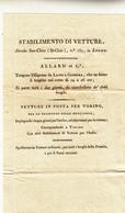 Stabilimento Di Vetture, Diligenze Lione Per  Ginevra, Vetture In Posta Per Torino, Bel Documento Fine 800 - Publicité