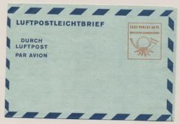 Deutschland - 1950 - 60pf Luftpostbrief - Taxe Percue 60 PF In Square - Unused - Aerogramme - [7] Federal Republic