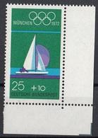 Germania 1972 Sc. B486 XX Olimpiade Monaco Vela Sailing Anelli Olimpici MNH - Vela