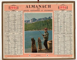Almanach Des Postes Télégraphes Et Téléphones De 1956 Illustration Patience à La Pêche - Calendriers