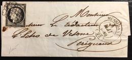 1849 /1850 Céres N°3a 20c Noir/blanc Oblitéré Grille Du 9 Mai 1849 + Dateur Type 14 De Mussidan TTB Signé Baudot - Marcophilie (Lettres)