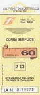 FERROVIE DELLO STATO /  Biglietto Corsa Semplice _ Fascia Km 60 - Chemins De Fer