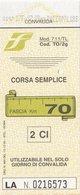 FERROVIE DELLO STATO /  Biglietto Corsa Semplice _ Fascia Km 70 - Treni