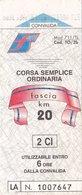 FERROVIE DELLO STATO /  Biglietto Corsa Semplice _ Fascia Km 20 - Chemins De Fer