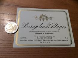 Etiquette Vin «BEAUJOLAIS VILLAGES - Domaine De Rochebrune - Xavier DUMONT - Saint-Etienne-des-Oullières (69)» - Beaujolais