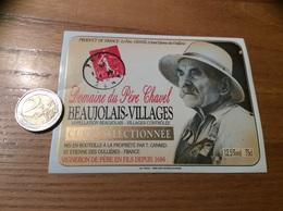 Etiquette Vin «BEAUJOLAIS VILLAGES - Domaine Du Père Chavel - CUVÉE SÉLECTIONNÉE - Saint-Etienne-des-Oullières (69)» - Beaujolais