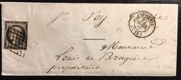 1849 /1850 Céres N°3a 20c Noir/blanc Oblitéré Grille Du 12 Avril 1850 + Dateur Type 15 De Perigueux Signé Pothion - Marcophilie (Lettres)