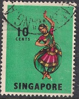 Singapore 1968 - 73 QE2 10ct Bharatha Natyam SG 105 ( K1018 ) - Singapore (1959-...)