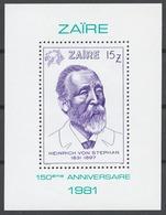 Zaire 1981 Mi# Bl.42** HEINRICH VON STEPHAN, UPU FOUNDER (see Description) - Zaïre