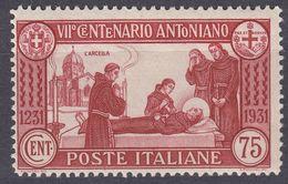 ITALIA - 1931 - Yvert 277 Nuovo MH, Come Da Immagine. - 1900-44 Victor Emmanuel III