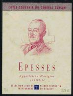 Rare // Etiquette De Vin // Militaire  // Epesses, Le Général Guisan - Militaire