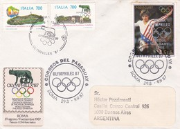 OLIMPHILEX 1987 ROMA- BLEUP STAMP PARAGUAY CIRCULEE ARGENTINE- BLEUP - Juegos Olímpicos