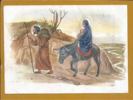 Christmas.Weihnachten.Postal Stationery Of Good Holidays Circulated In 1954.Flight To Egypt. Dumb.Esel.Fold.Falten.2sc - Kerstmis