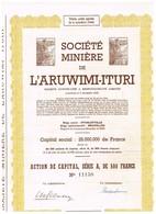 Ancienne Action  Congolaise - Société Minière De L' Aruwimi-Ituri - Titre De 1949 - Afrique