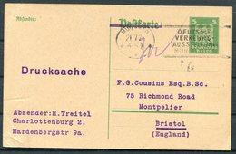 1925 Germany 5 Pf Eagle Stationery Postcard. Treitel - Montpelier Bristol England. Deutsches Ausstellung Munchen - Germany