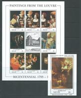 Nevis 1993 Louvre Paintings Sheet Of 8 + Label , & Miniature Sheet MNH - St.Kitts And Nevis ( 1983-...)