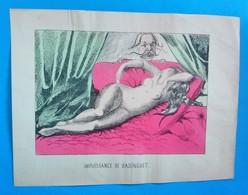 Impuissance De Badinguet, Caricature Ancienne, Gravure Coloriée Au Pochoir De J. Corseaux - Prints & Engravings