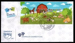 COLOMBIA- KOLUMBIEN- 2018 FDC/SPD. DOMESTIC ANIMALS SOUVENIR SHEET .WORLD MAIL DAY. HIGH FACIAL VALUE - Colombia