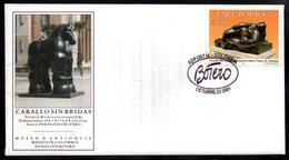 """COLOMBIA- KOLUMBIEN- 2001 FDC/SPD. BOTERO'S SCULPTURE - """" MUJER RECLINADA"""". / """" WOMAN RECLINING"""" - Colombia"""