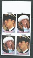 Nevis 1986 Prince Andrew Royal Wedding 60c Values Imperforate Se-tanant Block Of 4 MNH - St.Kitts And Nevis ( 1983-...)