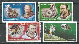 Togo YT N°706/709 Apollo 14 Neuf ** - Togo (1960-...)