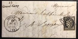 1849 /1850 Céres N°3a 20c Obl Grille 13 Nov 1849 + Dateur Type 14 D'Isigny + Cursive 13/Grand-Camp TTB Signé Baudot - Marcophilie (Lettres)