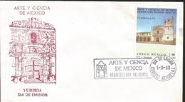 J) 1980 MEXICO, ART AND SCIENCE OF MEXICO, RELIGIOUS ARCHITECTURE XVI CENTURY, YURIRIA GUANAJUATO, FDC - Mexique