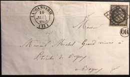 1849 /1850 Céres N°3 20c Obl Grille 16 Juin 1849 + Dateur Type 14 De Langannerie + Or  Signé Baudot - Marcophilie (Lettres)