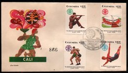 COLOMBIA- KOLUMBIEN - 1971.FDC/SPD. PANAMERICAN GAMES CALI'71. STADIUM,SWIMMING,SHOOTING AND WRESTLING - Colombia