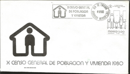 J) 1980 MEXICO, BLACK, X GENERAL CENSUS OF POPULATION AND HOUSING, FDC - Mexico