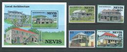 Nevis 1994 Architecture & Buildings Set Of 4 & Miniature Sheet MNH - St.Kitts And Nevis ( 1983-...)