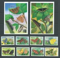 Nevis 1993 Butterfly Set Of 8 And The 2 Hong Kong Miniature Sheets MNH , 1 MS Corner Crease - St.Kitts And Nevis ( 1983-...)