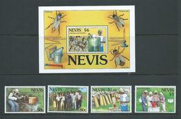 Nevis 1994 Bee Keeping Set Of 4 & Miniature Sheet MNH - St.Kitts And Nevis ( 1983-...)