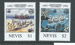 Nevis 1992 Columbus Discovery (august) Set Of 2 MNH - St.Kitts And Nevis ( 1983-...)