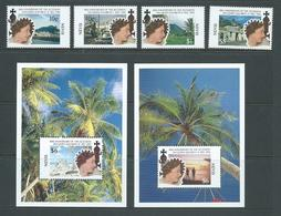 Nevis 1992 QEII Accession Anniversary Set Of 4 & Both Miniature Sheets Fine MNH - St.Kitts And Nevis ( 1983-...)