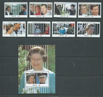 Nevis 1991 QEII & Royal Birthdays Set 8 & 1 Miniature Sheet  MNH - St.Kitts-et-Nevis ( 1983-...)