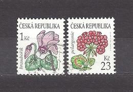 Czech Republic 2007 Gest ⊙ Mi 514-515 Sc 3345, 3347 Flowers Cyclamen, Geranium. C3 - Tchéquie