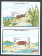 Nevis 1990 Crab Miniature Sheets MNH , One With Some Small Gum Marks - St.Kitts And Nevis ( 1983-...)
