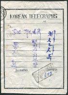 TELEGRAPH 1956 NORTH KOREA Registered Telegram ENVELOPE Cover Telegramm Umschlag Nordkorea Télégramme Corée Du Nord - Corée Du Nord