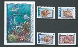 Nevis 1990 WWF Shell Set Of 4 & Miniature Sheet MNH - St.Kitts And Nevis ( 1983-...)