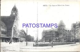 104920 FRANCE METZ LA GARE STATION TRAIN & HOTEL POSTS POSTAL POSTCARD - Sin Clasificación