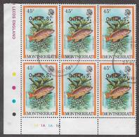 Montserrat SG O47 1981 Official 45c Cylinder Block Of 6 Good Used [32/165/1D] - Montserrat