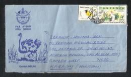 Tanzania Air Mail Postal Used Aerogramme Cover Tanzania To Pakistan Birds Animal Uhandisi Engineering - Tanzania (1964-...)
